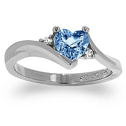 Genuine Blue Topaz Heart Ring with CZ Accent