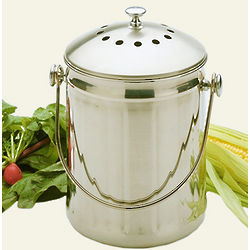 Gallon Stainless Steel Compost Pail with 2 Charcoal Filters